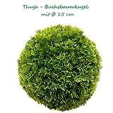 15 cm Ø künstliche Thuja - Buchsbaumkugel, sehr natürlich wirkend