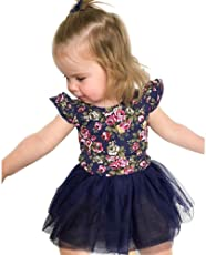 Chinatera Girl's Tutu Dress One Piece Lace Dress with Floral Prints