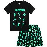 The PyjamaFactory - Pijama corto de algodón para niños, con palabra Legend y dibujos de baile y juego, color negro y verde
