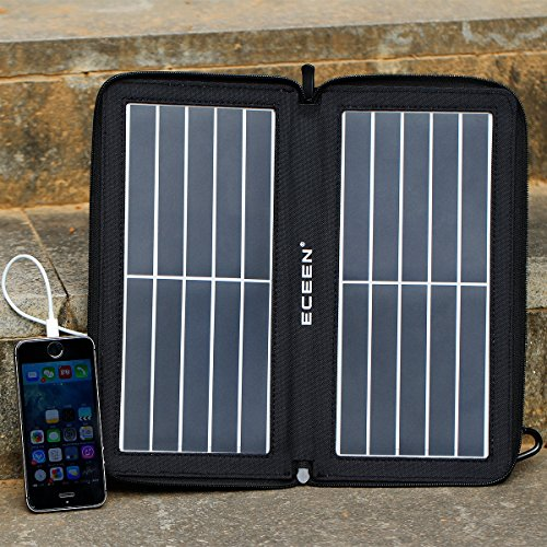 EAQUASYS ECEEN SME-647BK-109, Solar Charger 5V, 10W Waterproof Travel Solar Powered Panel Camping Charger 10w Folding Solar Charger