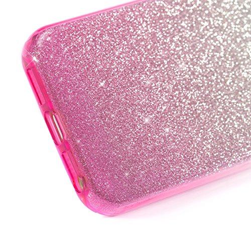 iPhone SE Hülle,iPhone 5 5S Silikon Hülle,JAWSEU Gradient Glitzer Soft Gel Silikon TPU Bumper Case Schutzhülle Shinning Bling Weich TPU Back Rückseite Schutzhülle Handy Tasche Silicone Hülle Etui Cove Gradient Pink