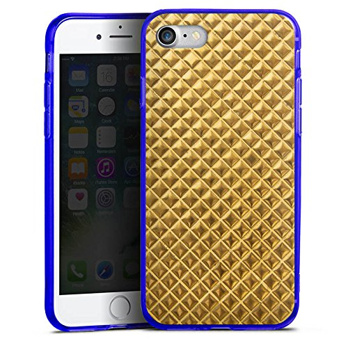 Apple iPhone 7 Silikon Hülle Case Schutzhülle Nieten Gold Muster Silikon Colour Case blau