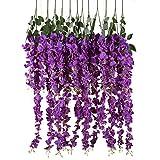 6 Pezzi Fiori Artificiali Glicine Seta Per Decorazione Floreale Giardino Soggiorno Appendere(Purple)