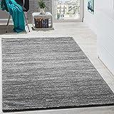 Paco Home Teppich Modern Wohnzimmer Kurzflor Gemütlich Preiswert Meliert in Grau Creme, Grösse:70x140 cm