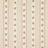 Fabulous Fabrics Dekostoff Natur - Rosen und Streifen rosa
