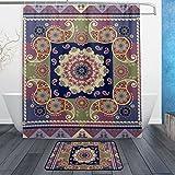 jstel ethnischen indischen Paisley und Blumen Mandala 3-teiliges Badezimmer Set, maschinenwaschbar für den täglichen Gebrauch, inkl. 152,4x 182,9cm Wasserdicht Duschvorhang, 12Dusche Haken und 1rutschfeste Badezimmer Teppich