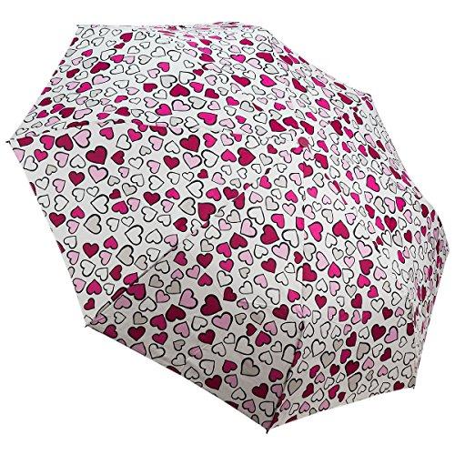 Esprit Regenschirm Mini Damen Taschenschirm Hearts Allover - White Heart Handtasche