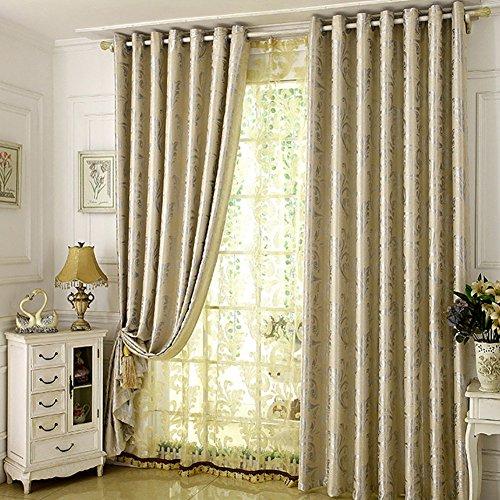 D&l oscuranti tende da finestra per livingroom,alto densità jacquard termica coibentato oscuranti moderna semplicità jacquard camera da letto ombreggiatura ombrellone 1 pezzo-beige 59x106inch