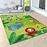 Kinderteppich Spielteppich Dschungel Tiere Palmen AFFE Elefant Giraffe Löwe Grün, Grösse:80x150 cm Vergleich