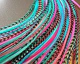 LA BEAUTE POUR TOUS 10 Extensions plumes Candy Pastel XXL 20-30 cm 100% naturel pour cheveux+ anneaux offerts