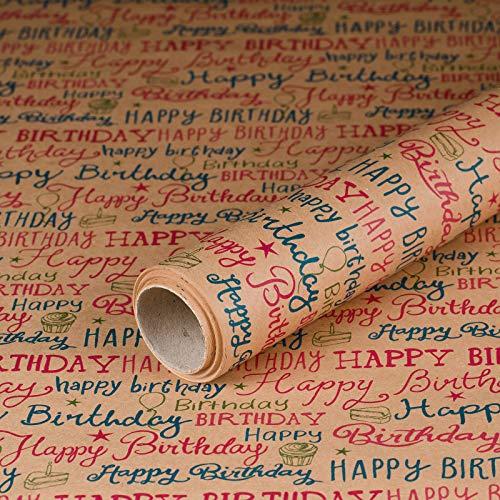 Geschenkpapier Happy Birthday, Kraftpapier, glatt, 60 g/m², Geburtstagspapier, Vintage-Stil - 1 Rolle 0,7 x 10 m (Geschenkpapier Geburtstag)