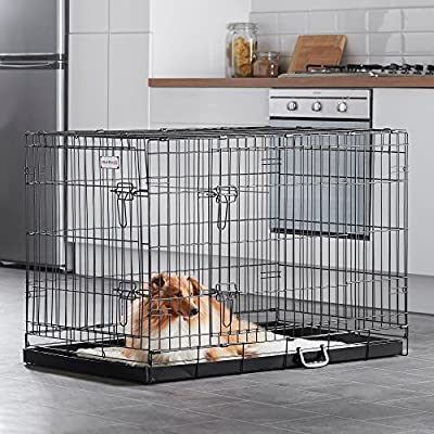"Milo & Misty 42"" Folding 2 Door Black Puppy & Dog Pet Crate Cage with Plastic Tray - X-Large by Milo & Misty"