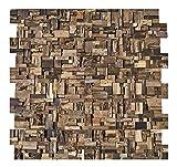 HO-005-1 Mosaik-Fliese auf Netz Teakholz Wand Verblender Wandtatoo Wandfliese Wanddekoration Stein-Mosaik Fliesen Lager Verkauf Herne NRW