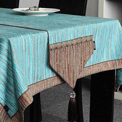 QiangZi Chemin De Table Style Européen Solide Couleur Stripe Splicing Restaurant Salon Haut De Gamme Chemin De Table Table À Manger Décoration De Tissu, 32 * 160 CM ( Couleur : Bleu , taille : 32*220cm )