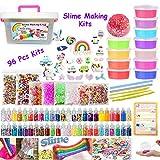 Kit fai da te per realizzare lo slime include 12 slime, 48 vasetti di glitter, 25 perline animali, palline di schiuma, fette di frutta, carta di zucchero, kit Slime per giocare e divertire i bambini