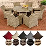CLP Polyrattan Sitzgruppe GINOSA | Garten-Set: EIN runder Esstisch mit Glasplatte und sechs Stühle | In Verschiedenen Farben erhältlich Rattan Farbe Natura, Bezugfarbe: Anthrazit