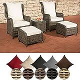 CLP Polyrattan-Sitzgruppe TREVISO inklusive Polsterauflagen | Garten-Set bestehend aus einem Beistelltisch, zwei Sesseln und zwei Hockern | In verschiedenen Farben erhältlich Rattan Farbe grau-meliert, Bezugfarbe: Cremeweiß