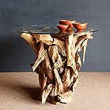 Wurzelholz Esstisch inklusive Glasplatte runde 100cm | Ess-Tisch Teak Holz | massiv Handarbeit Unikat | Massivholztisch Wurzelholz |