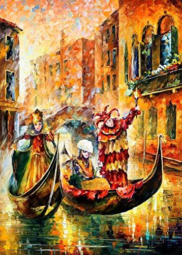 GCQBLM Malen nach Zahlen, die nach Zahlen für Hauptdekor Han gemalten Segeltuch-Venedig-Gondel 16x20 Zoll gerahmt sind -