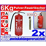 2x ABC Feuerlöscher 6kg Pulverlöscher 6 kg Dauerdrucklöscher