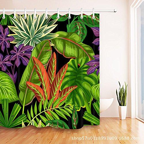 TS-nslixuan Duschvorhänge Wasserdicht und Anti-Mild Polyester schmücken Ihr Leben digital gedruckten Badezimmer Duschvorhang 180X180 cm (72x72 Zoll) Duschvorhang Amazon Hot Regenwald Palm Leaf - Gewebte Palm Leaf