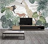 (250X200CM), Alte Zeitung 3D tapete - Nordic tropische Pflanze Tier Giraffe - Wallpaper Poster Wanddekoration von Bestwind