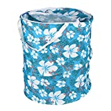 Clasiko Multipurpose Foldable & Collapsible Pop-Up Round Laundry Bag Basket with Zippered Lid and Carry Handle