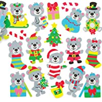 Baker Ross Christmas Teddy Bear Foam Stickers (Pack of 120) Self Adhesive Puffy Scrapbook Stickers