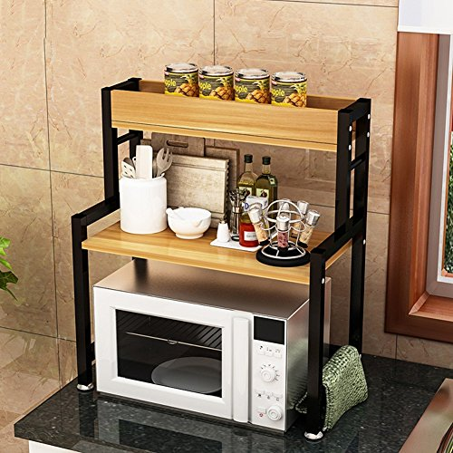 XING ZI Shelf C-K-P Multifuncional De Cocina De Madera Horno Microondas 3 Capas 69X60X30 Cm (Color : B)