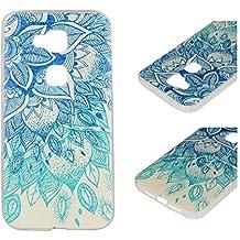 Para Huawei G8 / G7 Plus (5,5 pulgadas) Cáscara ZeWoo® Carcasa y Funda de Silicona - YG009 / hojas azules