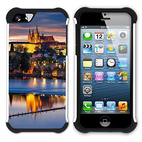 Graphic4You Prag Tschechische Republik Postkarte Aussicht Hart + Weiche Kratzfeste Hülle Case Schale Tasche Schutzhülle für Apple iPhone SE / 5 / 5S Design #5