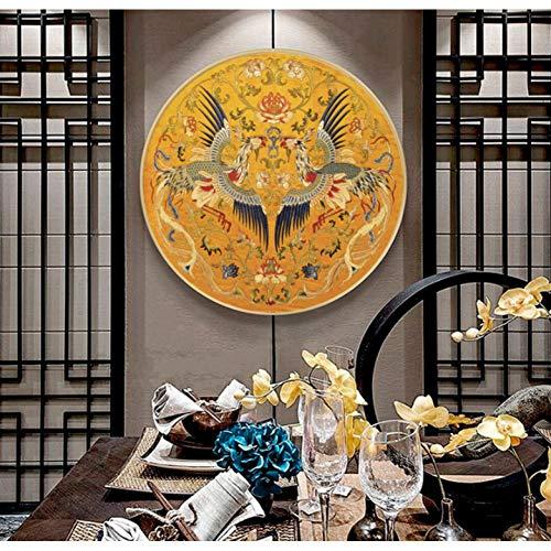 LYH Kreuzstich Handarbeiten, DIY Gedruckt Double Flying Phoenix Kreuzstich, Sets Für Stickpackung Volle Stickerei Kreuzstich 60X60Cm Baumwolle -