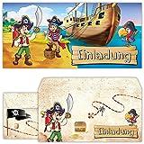 Piraten Einladungskarten mit Umschlägen (12er Set) zum Kindergeburtstag von BeriluDesign | Schatz-Karte Schatzsuche Kinder Geburtstag-Einladungen Karten Feier Party Jungen