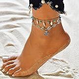 Jovono azul Boho abalorios hoja tobilleras árbol de múltiples capas vieira concha tobillera pulseras joyería del pie de playa
