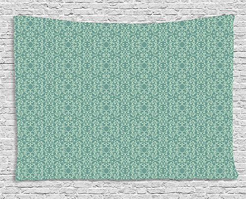VTXWL Green Tapestry, Vintage Style Victorian Garden Pattern Antique Design Old Fashion Ornaments, Wall Hanging for Bedroom Living Room Dorm, 80 W X 60 L Inches, Turquoise Seafoam