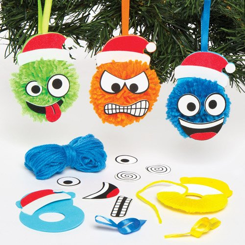 Christmas Funny Face Pom Pom Hanging Decoration Kits for Children to Design and Display - Make Your Own Creative Craft Toy for Kids (Pack of 4)