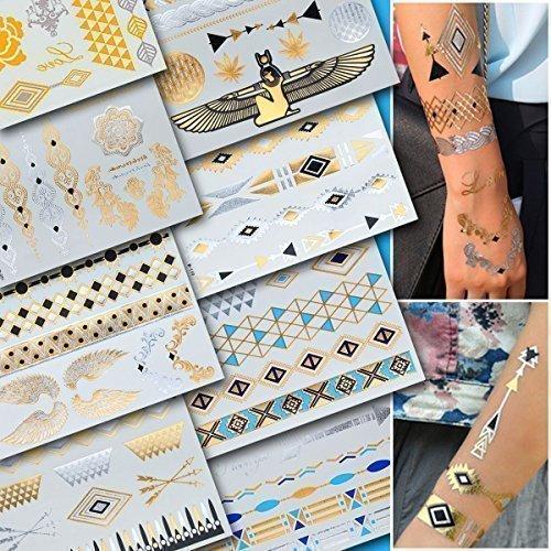 Schmuckset ORIENTAL, Gold Metallic Flash Tattoos, Einmaltattoos 8 -