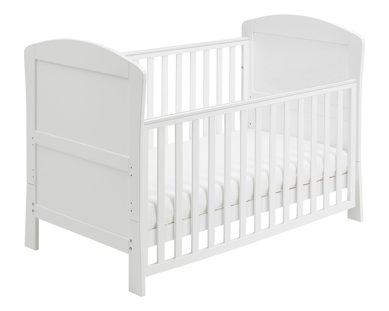 Babymore Aston Drop Side Cot Bed (White) with Foam Mattress  2 protective teething rails 3 base heights 1 drop side, 1 fixed side 2