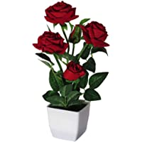 Litleo Red Color Artificial Rose Plant with Pot for Home Office