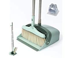 Broom and Dust Pans Long Handled, Tall Dustpan and Brush Set Indoor with Stainless Steel Rods / 3 Layers Broom / 2 Brush Hold