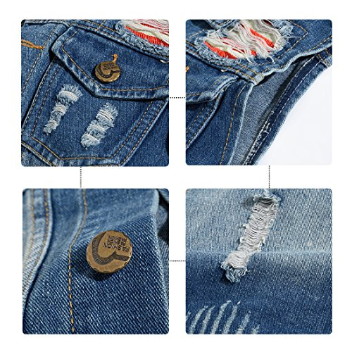YOUTHUP Herren Jeans Denim Weste fashion Jeans Casual Weste Hell Blau (Design 3)