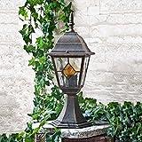 Licht-Erlebnisse Rustikale Standleuchte in antikgold inkl. 1x 12W E27 LED 230V Stehleuchte aus Aluminium & Glas Stehlampe für Garten/Terrasse Standlampe Garten Weg Terrasse Lampen Leuchte Beleuchtung außen