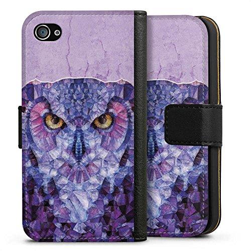 Apple iPhone X Silikon Hülle Case Schutzhülle Eule Owl Lila Sideflip Tasche schwarz