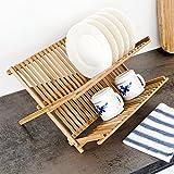 Cruz estante para platos, 42x 35cm, bambú plegable de dos niveles soporte de escurridor de...