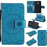Funda Microsoft Nokia Lumia 630/635 Wanxida Carcasa de Girasol de Impresión en Relieve Funda de PU Cuero Suave Carcasa Cartera con Cierre Magnético y Ranura Para Tarjetas Carcasa de Estilo Libro Delgado plegable Funda Protectora Caja de Función Soporte Para el Microsoft Nokia Lumia 630/635- Azul