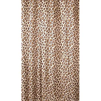 QUALITY 105GSM LEOPARD CHEETAH ANIMAL PRINT DESIGN TEXTILE EXTRA LONG SHOWER CURTAIN WITH WEIGHTED