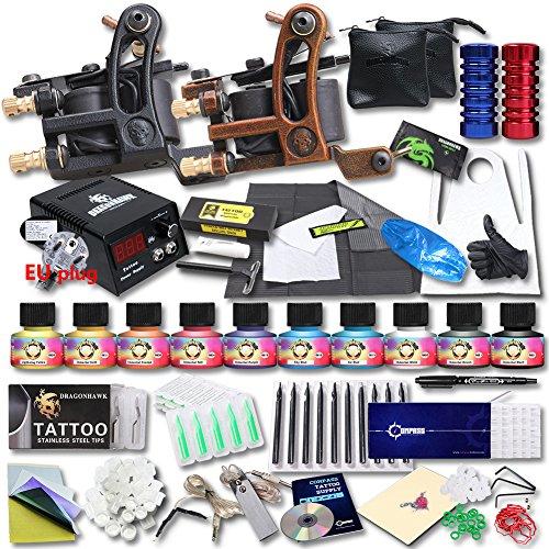 dragonhawk-professional-tattoo-kit-2-machine-gun-top-ce-power-supply-needles-grip-tip-usa-brand-ink-