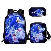 Vercico Sonic Kinderrucksack, Federmäppchen, Schultertasche, 3er-Set, Sonic-Federmäppchen für Kinder, Mädchen, Laptop…