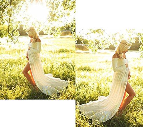 TrivingTech Sexy Schwangerschafts Kleid, Chiffon Fotografie Rock, Mutterschaft Foto Shoot Kleidung Long Sleeve White