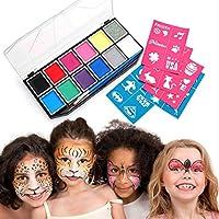 Palette de Maquillage de Fête, Professionnel 12 Couleurs Peinture Kit de Visage pour les enfants, Coffre Corps Peinture Huile Art Maquillage, Halloween Parade Party Déguisements, Kits de Body Painting